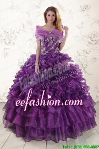 Amazing Appliques Purple Strapless 2015 Quinceanera Dresses