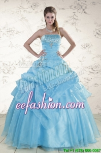 Amazing Aqua Blue 2015 Strapless Quinceanera Dresses with Beading