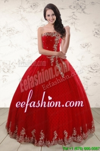 Amazing Red Strapless 2015 Quinceanera Dresses with Appliques