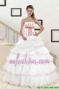Amazing Ruffeld Layers 2015 Quinceanera Dresses with Appliques