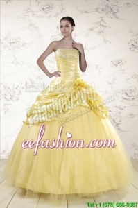 Amazing Yellow Sweetheart Ball Gown Quinceanera Dresses for 2015