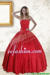 Discount Red Strapless Sweet 16 Dresses with Beading