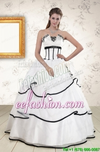 Discount White and Black 2015 Quinceanera Dresses with Appliques