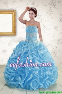 Elegant Strapless Beading and Pick Ups 2015 Quinceanera Dresses in Baby Blue
