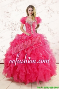 Hot Pink Ruffles and Beaded Amazing Quinceanera Dresses for 2015