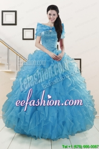 Hot Sell Blue Quinceanera Dresses With Beading and Ruffles