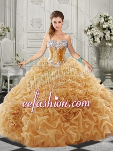 Luxurious Organza Champagne Quinceanera Dress with Beading and Ruffles
