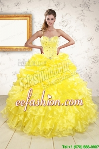 Popular Sweetheart Yellow Quinceanera Dresses with Beading