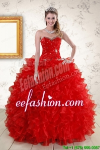 Pretty Ball Gown Sweetheart Red Quinceanera Dresses with Beading