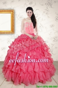 Strapless Beading and Ruffles Amazing Quinceanera Dresses in Hot Pink