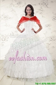 White Ball Gown Amazing Quinceanera Dresses with Sequins and Ruffles
