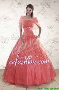 2015 Appliques Sweetheart In Stock Quinceanera Dresses in Watermelon