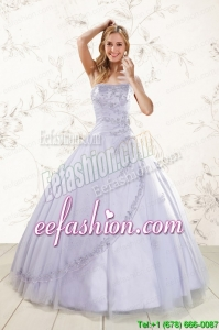 2015 Discount New Strapless Lavender Quinceanera Dresses with Appliques