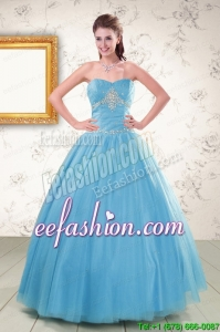 2015 Discount Strapless Beaded Quinceanera Dresses in Aqua Blue