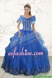 2015 In Stock Appliques Quinceanera Dresses in Royal Blue