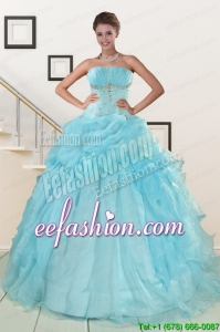 2015 New Style Aqua Blue Quinceanera Dresses with Beading