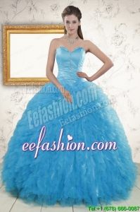 2015 New Style Beading Quinceanera Dresses in Baby Blue