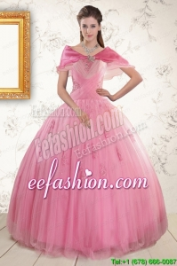 2015 New Style Pink Quinceaneras Dresses with Appliques and Beading