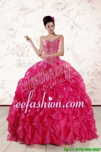 2015 New Style Spaghetti Straps Beading Quinceanera Dresses in Hot Pink