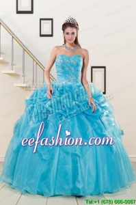 2015 New Style Sweetheart Beading Quinceanera Dress in Aqua Blue
