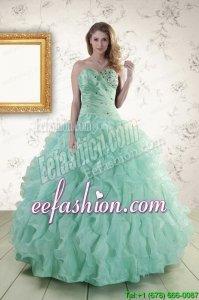 2015 New Style Sweetheart Beading Quinceanera Dresses in Apple Green