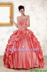 2015 New Style Sweetheart Beading Quinceanera Dresses in Watermelon