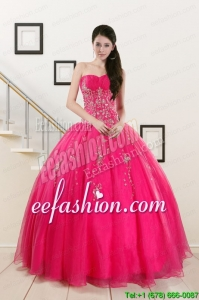 2015 New Style Sweetheart Hot Pink Quinceanera Dresses with Beading