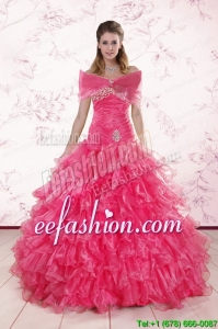 2015 New Style Sweetheart Hot Pink Quinceanera Dresses with Ruffles