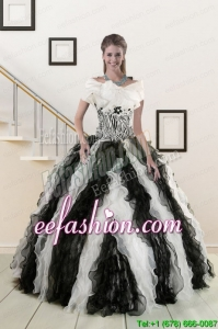 2015 Popular Black and White Quinceanera Dresses with Zebra and Ruffles