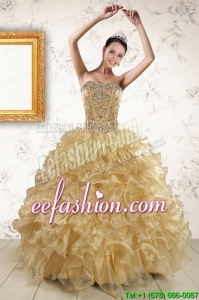 2015 Popular Ruffles and Beaded Quinceanera Dresses in Champange