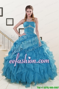 2015 Popular Strapless Quinceanera Dresses with Beading and Ruffles