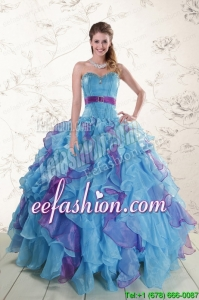 2015 Pretty Multi Color Quinceanera Dresses with Beading and Ruffles