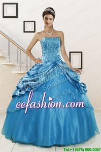 2015 Pretty Wonderful Strapless Appliques Quinceanera Dresses in Teal