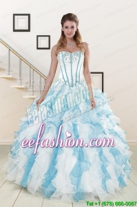 Appliques and Ruffles 2015 Quinceanera Dresses in Mult Color