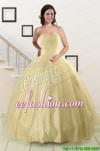 Discount Appliques Quinceanera Dress in Light Yellow For 2015