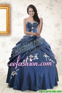 Discount Sweetheart Ball Gown Quinceanera Dresses in Navy Blue