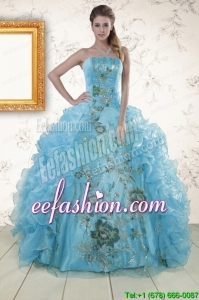 Embroidery In Stock Quinceanera Dresses in Baby Blue