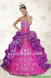 In Stock Ball Gown Embroidery Court Train Quinceanera Dresses in Purple