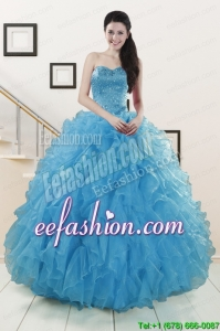 In Stock Beaded Quinceanera Dresses Ruffled in Blue