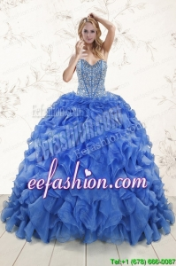 In Stock Beaded Royal Blue Sweet 15 Dresses with Sweep Train