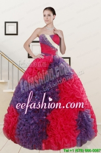 In Stock Beading and Ruffles Multi Color Quinceanera Dresses