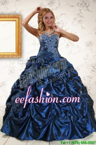 In Stock Exclusive Appliques Navy Blue Quinceanera Dresses with Pick Ups