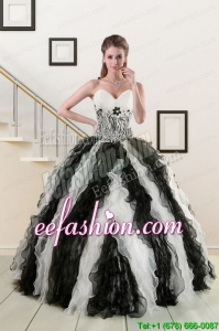 In Stock Exclusive Black and White Quinceanera Dresses with Zebra and Ruffles