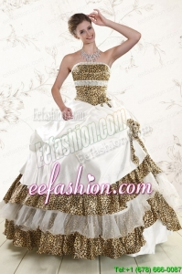 In Stock Leopard Quinceanera Dresses with Hand Made Flower