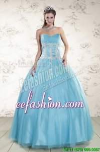 In Stock Pretty Aqua Blue Quinceanera Dresses with Beading and Appliques