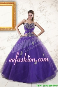 In Stock Purple Quinceanera Dresses with Appliques and Beading
