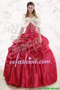 In Stock Strapless Appliques Quinceanera Dresses