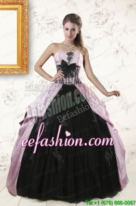 In Stock Strapless Quinceanera Dresses with Appliques and Ruffles