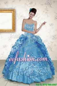 In Stock Sweetheart Embroidery Sweet 16 Dress in Blue