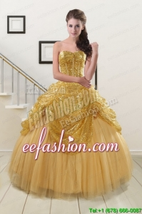 In Stock Sweetheart Sequined Quinceanera Dresses in Gold
